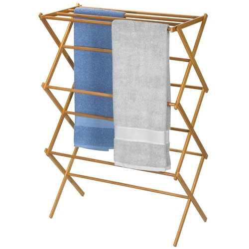 Folding Laundry Clothes Drying Rack in Bamboo Wood
