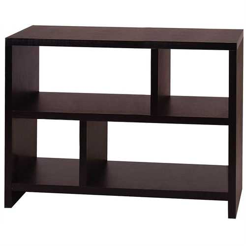 Modern 2-Shelf Bookcase Console Table in Espresso Wood Finish