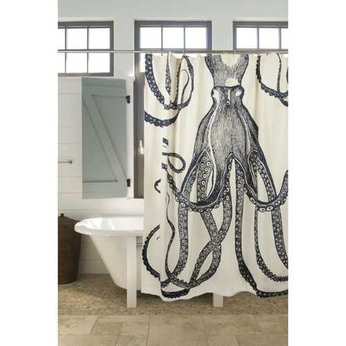 Medium Weight 100% Cotton Silk Screen Vintage Octopus Shower Curtain