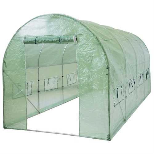 Outdoor 7 x 15 Ft Hoop House Greenhouse with Steel Frame and Green PE Cover