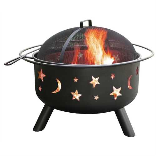 Stars Moon Sky Black Steel Fire Pit Bowl with Screen Cooking Grate and Poker