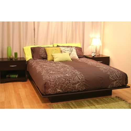 Queen size Platform Bed Frame in Dark Brown Chocolate Wood Finish