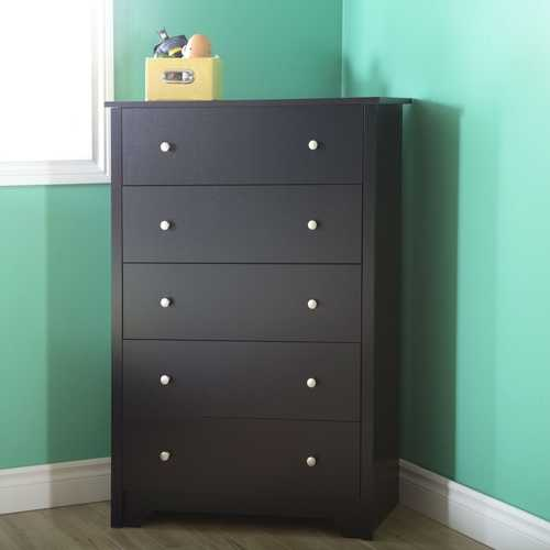 5-Drawer Bedroom Chest in Black Wood Finish and Nickle Finish Knobs