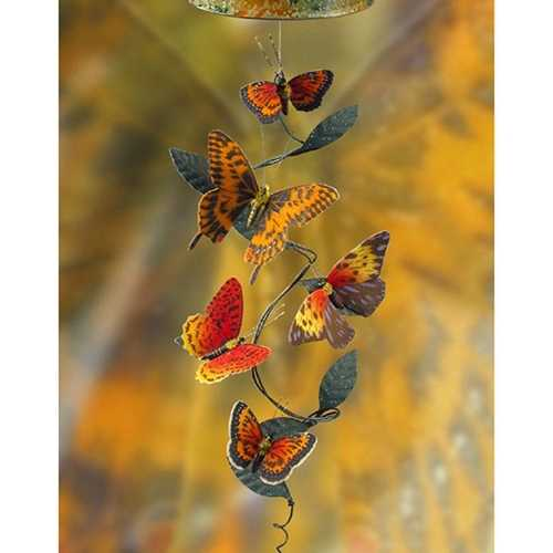 Solar Powered No Wind Required Realistic Fabric Butterflies Spinning Vine