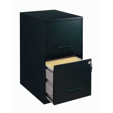 Black Metal 2-Drawer Vertical Filing File Cabinet - Made in USA