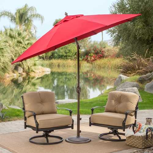 Outdoor 9-Ft Tilt Patio Umbrella with Antique Bronze Pole and Red Canopy