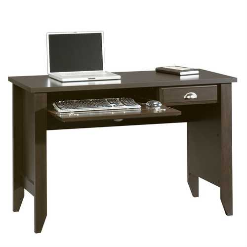 Computer Desk with Keyboard Tray in Dark Brown Mocha Espresso Wood Finish