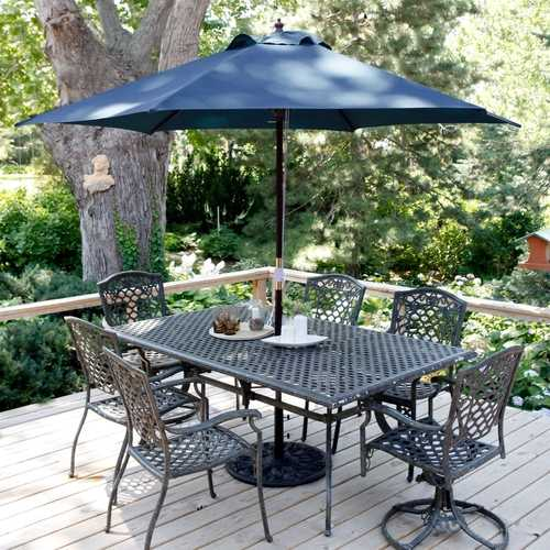 Navy Blue 11-Ft Patio Umbrella with Antique Bronze Pole and Base