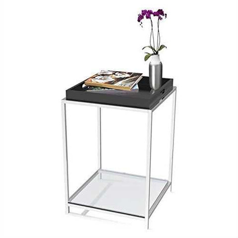 Modern End Table with Removable Tray in Black