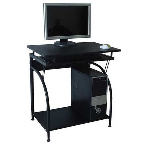 Computer Desk with Pullout Keyboard Tray and Bottom Shelf