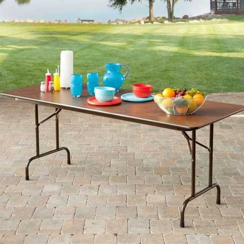 Rectangle 60-inch Melamine Folding Table in Brown
