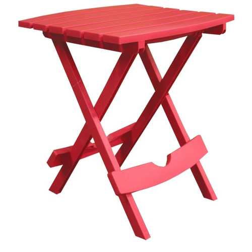 Folding Side Table for Outdoor Patio Lawn in Cherry Red Durable Resin