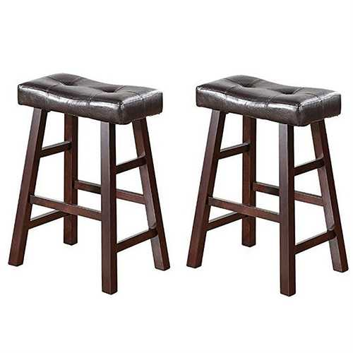 Set of 2 - 24-inch Dark Cherry Counter Stools with Faux Leather Seat