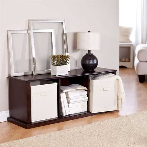 Modern Brown Espresso Stacking Storage Unit 1-Shelf Bookcase with 3 Canvas Bins