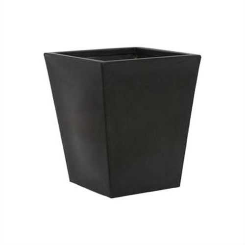 Modern Square Planter in Black Durable Lightweight Molded Plastic