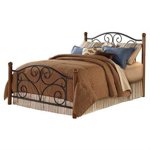 King size Dora Metal and Wood Bed with Headboard and Footboard