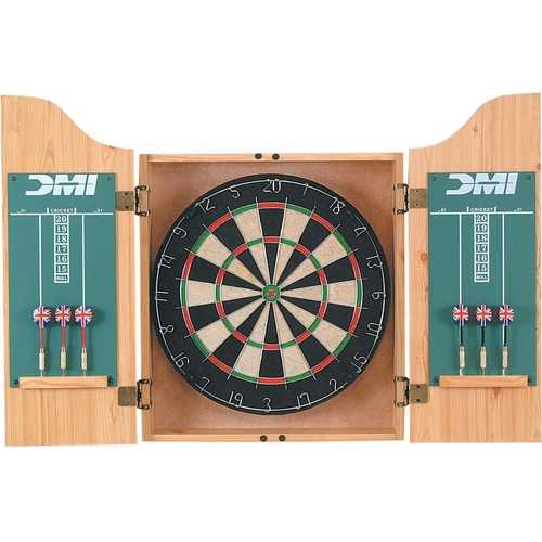 Sisal Dartboard with Oak Finish Cabinet Darts and Chalkboard