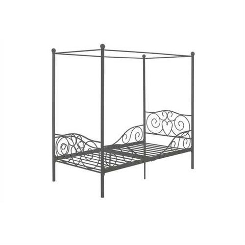 Twin size Metal Canopy Bed in Pewter Grey Finish