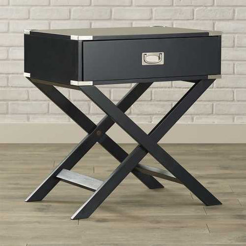 Dark Grey Black 1-Drawer End Table Nightstand with Modern Classic X Style Legs
