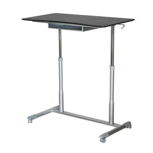 Espresso Adjustable Height Sitting Standing Desk Ergonomic Mobile Stand Up Computer Table