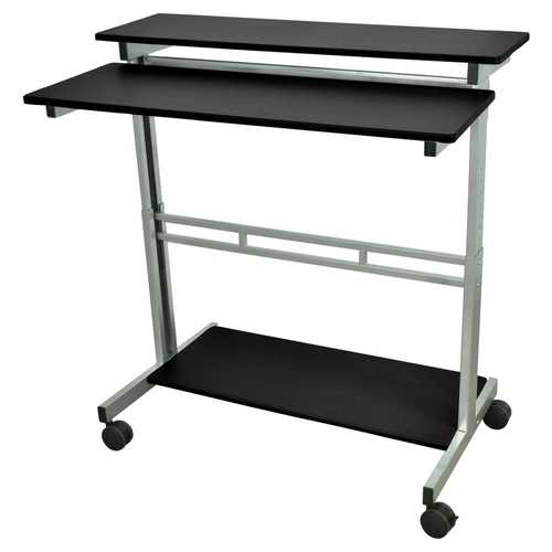 Mobile 40-inch Stand Up Computer Desk in Black