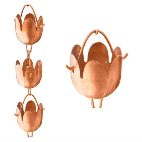 Copper Floral Cups 8.5-Ft Rain Chain Gutter Downspout