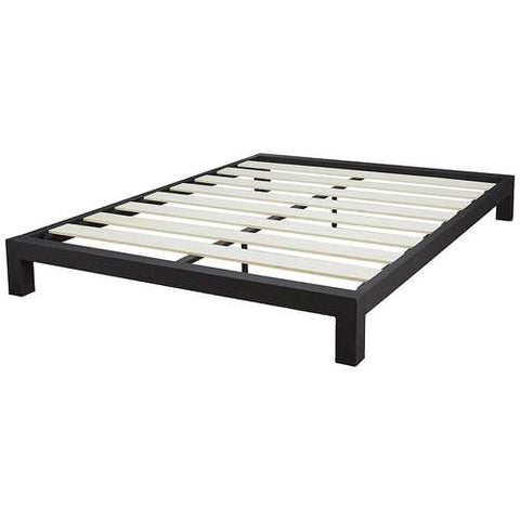 Full Black Metal Platform Bed Frame with Wide Wood Slats