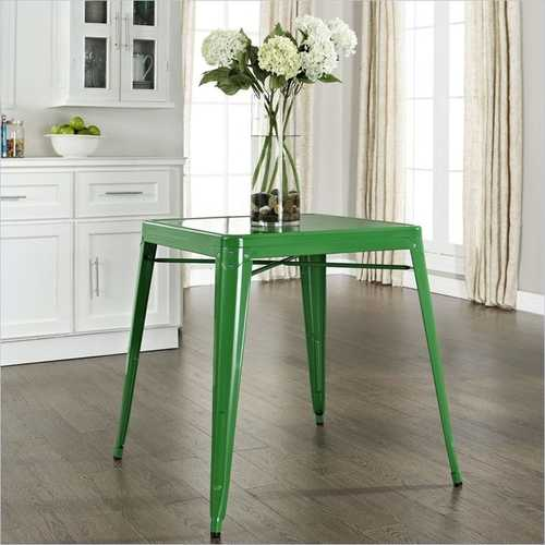 Contemporary French Cafe Style Sturdy Metal Dining Table in Green