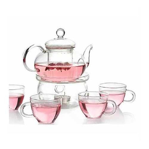 6-Piece Glass Tea Pot Set with 4 Cups Teapot Warmer and Infuser