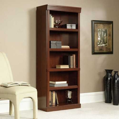 71-inch High 5-Shelf Wooden Bookcase in Cherry Finish