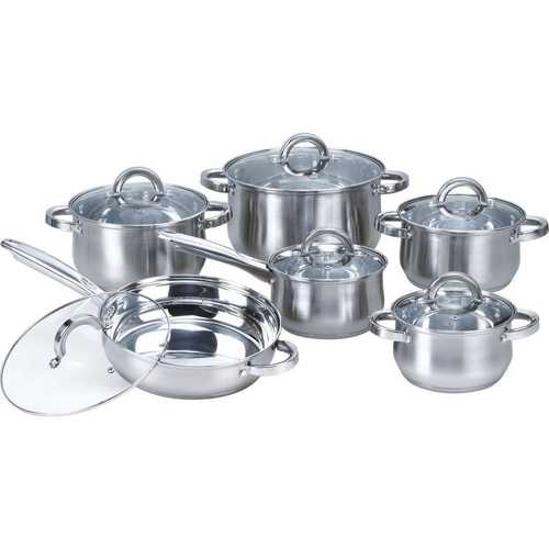 12-Piece Stainless Steel Cookware Set with Casseroles Frying Pan and Saucepan