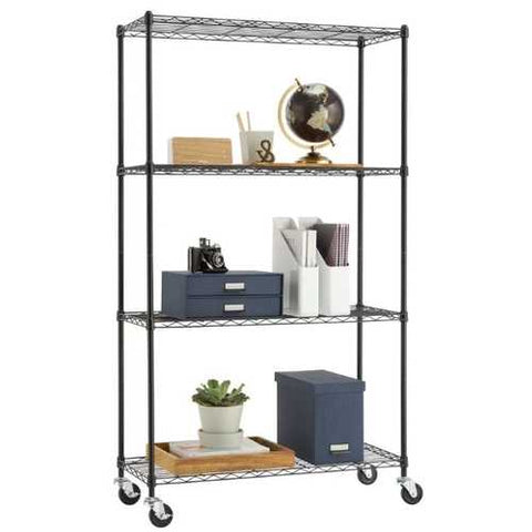 Heavy Duty Black Steel 4-Tier Shelving Unit with Locking Casters