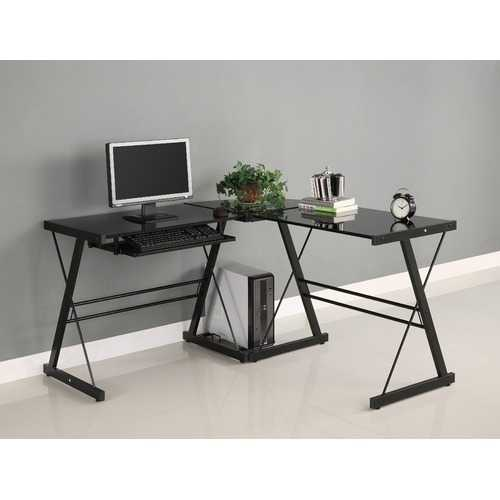 Black Metal L-Shaped Corner Computer Desk with Glass Top