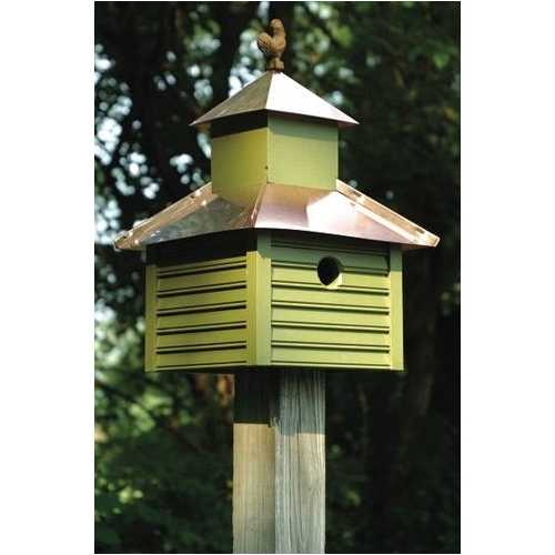Pinion Green Birdhouse with White / Bright Copper Roof and Rooster Top
