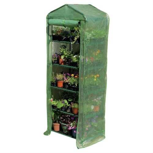 5-Tier Sturdy Growing Rack Planter Stand Greenhouse with Reinforced Cover