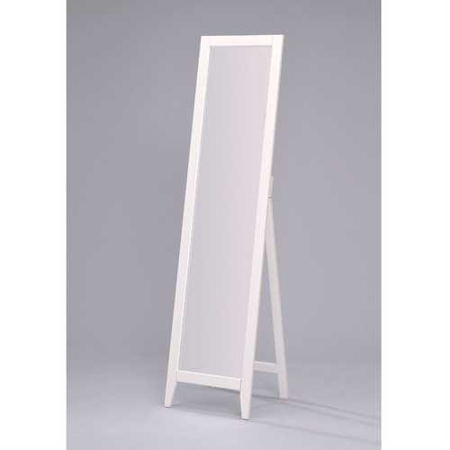 Contemporary Bedroom Floor Mirror in White Wood Finish