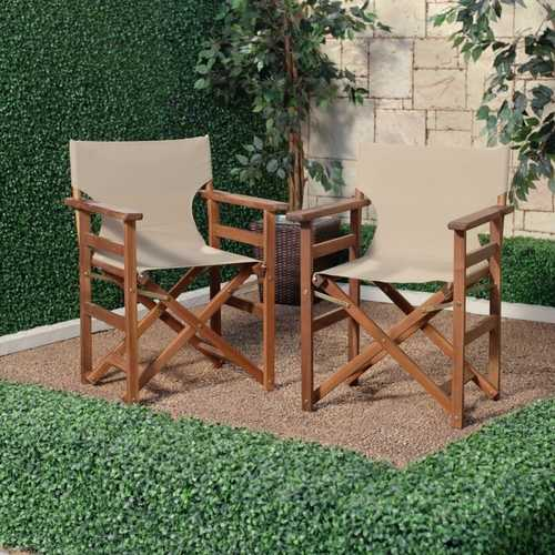Set of 2 - Outdoor Patio Garden Directors Chair with Khaki Fabric Seat