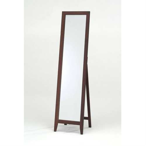 Contemporary Solid Wood Floor Mirror in Walnut Finish