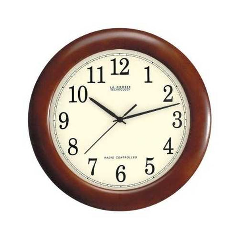 12.5-inch Atomic Analog Wall Clock with Wood Finish Frame