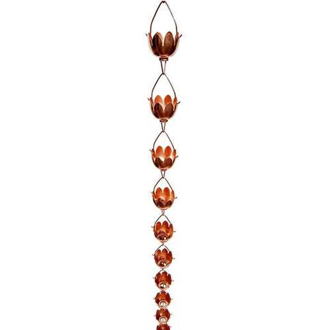Lily Lotus Flower 100% Copper 8-Foot Rain Chain