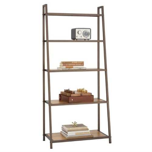 Steel Frame 5-Shelf Leaning Shelving Unit Bookcase with Bamboo Shelves