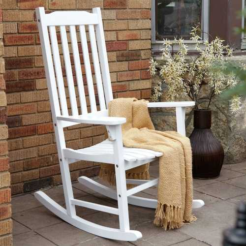 Indoor/Outdoor Patio Porch White Slat Rocking Chair