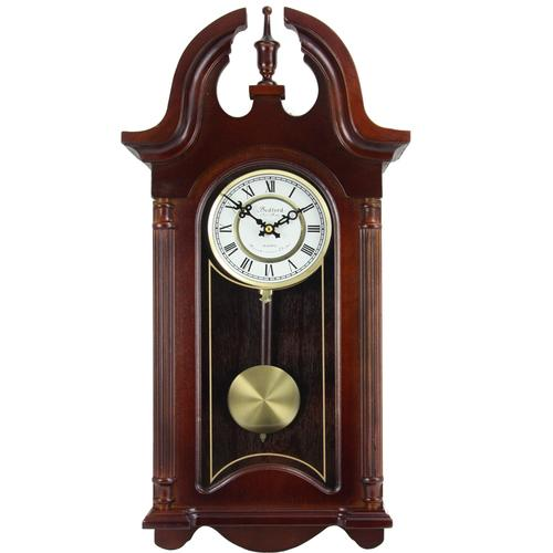 Bedford Clock Collection 26.5 Colonial Mahogany Cherry Oak Finish Chiming Wall Clock with Roman Numerals