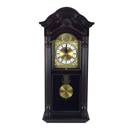 Bedford Clock Collection 25.5 Antique Mahogany Cherry Oak Chiming Wall Clock with Roman Numerals