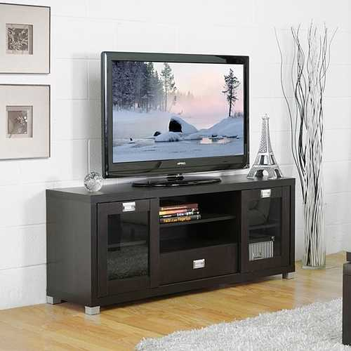 Modern Glass Door TV Stand in Dark Brown