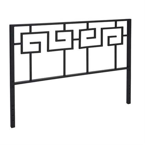 Full size Modern Meander Greek Key Style Headboard in Black Metal Finish