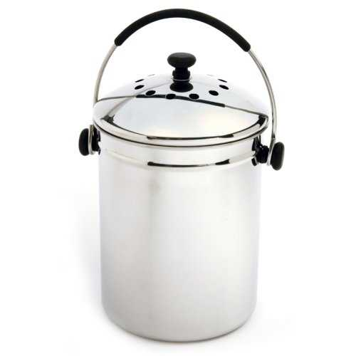 Stainless Steel Kitchen Compost Keeper Bin with Charcoal Filter