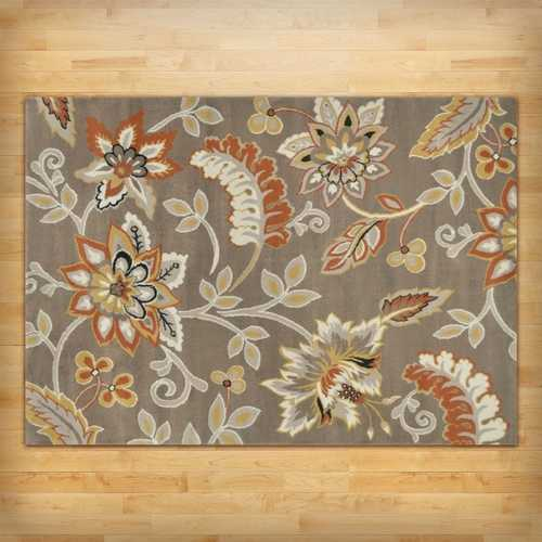 "3'3"" x 5'2"" Tufted Cotton Area Rug with Yellow Orange Beige Brown Floral Pattern"
