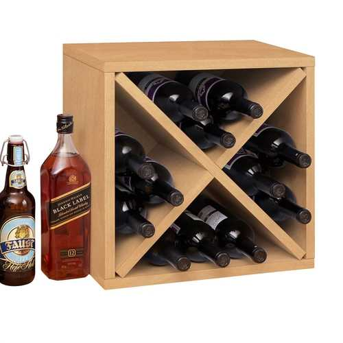 Stackable 12-Bottle Wine Rack in Natural Wood Finish