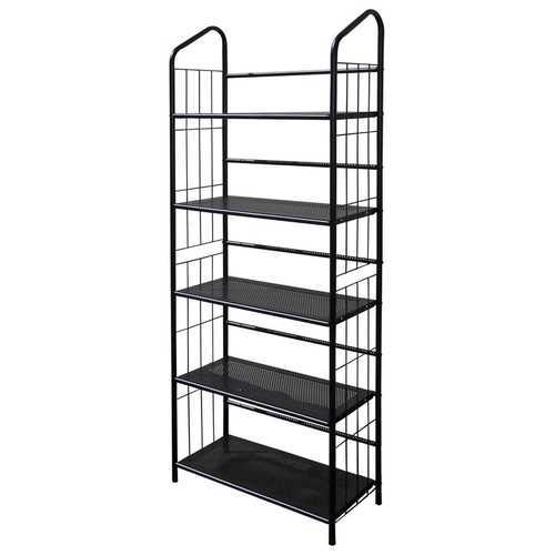5-Tier Bookcase Storage Shelves Rack in Black Metal